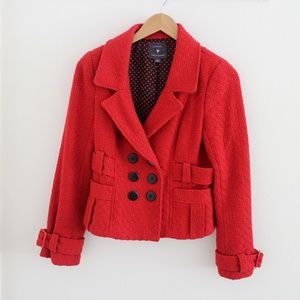 Red Textured Pea Coat With Pockets